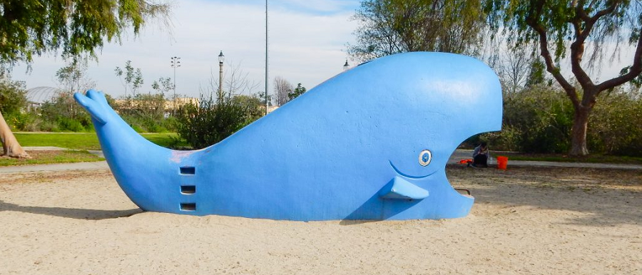 Whale sculpture at Vincent Lugo Park for Play Day event