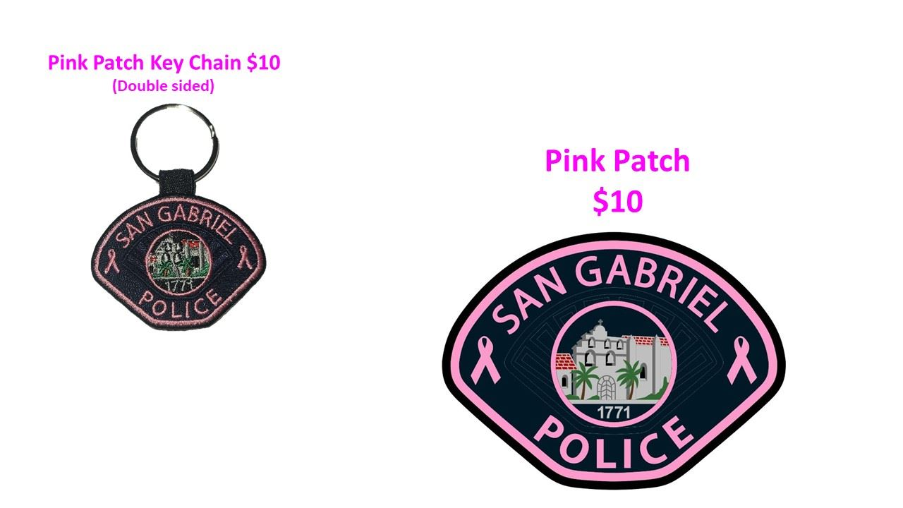 San Gabriel PD Pink Patch Key Chain and Patch