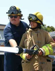 Firefighter with youth